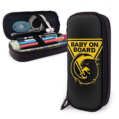 Lápices Estuche para bolígrafos Bebé a bordo Estuche para lápices de cuero Gran capacidad con cremallera Estuche para lápices de almacenamiento grande Organizador de escritorio Soporte para bolsa por
