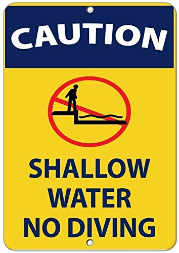 "DKISEE Metall/Aluminium-Blechschild mit Aufschrift ""Caution Shallow Water No Diving Activity"", 20,3 x 30,5 cm"