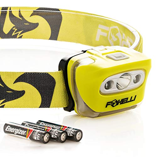 Foxelli Headlamp Flashlight - 165 Lumen, 3 x AAA Batteries Operated (Included), Bright White Cree Led & Red Light, Perfect for Runners, Lightweight, Waterproof, Adjustable Headband