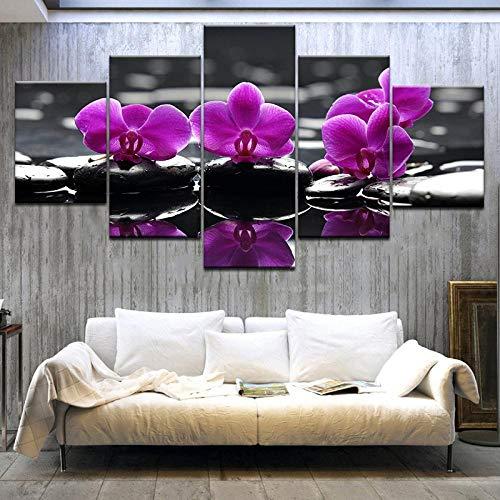 YCCYYYI Cuadros de Pintura Impresos en Lienzo para Cocina, Carteles de imágenes modulares, decoración de habitación, Arte de orquídeas, Flores Modernas, 5 Paneles, póster artístico de Pared