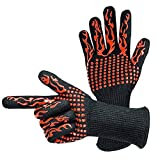 Xmansky Guantes Barbacoa Guantes Ignifugos Resistentes al Calor hasta 500 ° C Oven Gloves Guantes de Cocina de Silicona Antideslizantes BBQ Gloves,para Horno,Barbacoa,Cocinar,Guantes Chimenea (Negro)