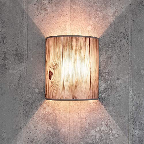 Stoff Wandlampe ALICE Holz Optik halbrund Loft Design E27 Wandlampe Schlafzimmer Wohnzimmer Flur Beleuchtung