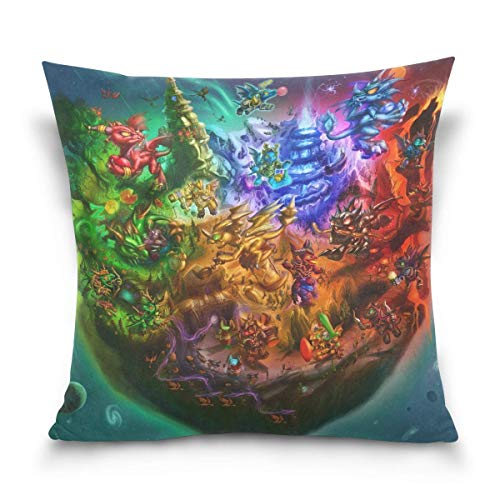 World of Warcraft Whelpcraft Throw Pillow Covers Decorative Pillowcases Double-Sided Printing Soft Pillow Cases for Living Room Sofa Couch Bed Home Decor Fundas para Almohada 22x22Inch(55cmx55cm)
