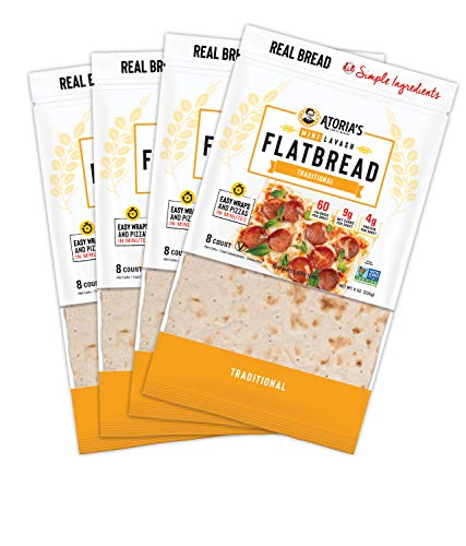 Atoria's Family Bakery Traditional Mini Lavash flatbread │Perfect for sandwich bread, wraps or pizza crust │ 4 packs of 8 flatbreads| 32 pieces