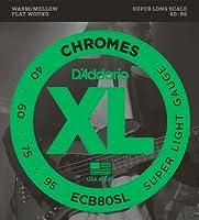 【 並行輸入品 】 D'Addario (ダダリオ) ECB80SL Chromes ベースギター 弦, Super Long Scale, Extra Light
