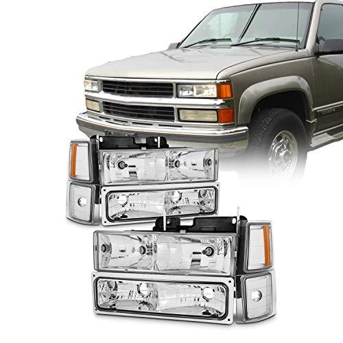For 94-98 Chevy C/K 1500/2500/3500 Tahoe Suburban Full Size C10 Chrome Headlights Driver+Passenger Headlamp