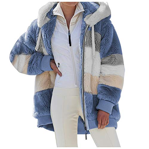 ZFQQ Autumn and Winter Women's Loose Plush Multicolor Hooded Jacket Blue