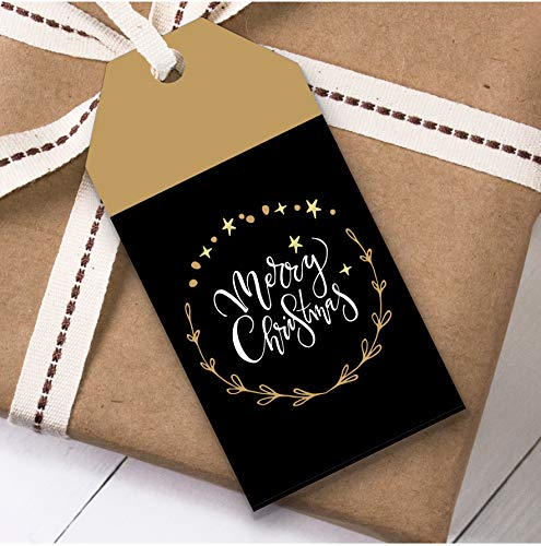 Zwart & Goud Ring Kerstmis Gift Tags (Present Favor Labels)