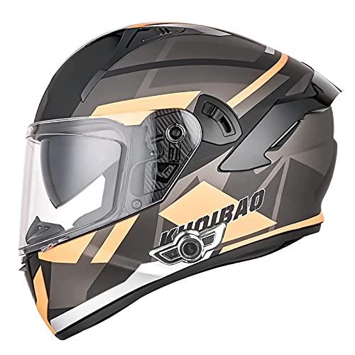 ZHANGYUEFEIFZ Casco Moto Bluetooth Integrado Casco Moto Integral para Hombre Mujer Casco Moto Modular con Doble Visera ECE Homologado (Color : E, Size : 60-61CM(XL))