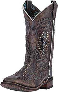Laredo Womens Spellbound Studded Square Toe Western Cowboy Dress Boots Mid Calf Low Heel 1-2  - Black - Size 11 B
