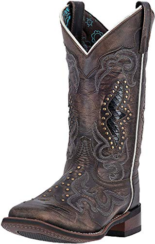 """Laredo Womens Spellbound Studded Square Toe Western Cowboy Dress Boots Mid Calf Low Heel 1-2"""" - Black - Size 10 B"""