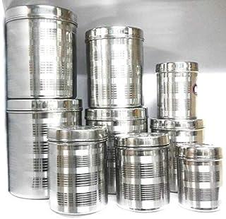 New Export Bhawani Steel dibba 9 pcs Set 500 ml to 5 kg capesity Size Set.