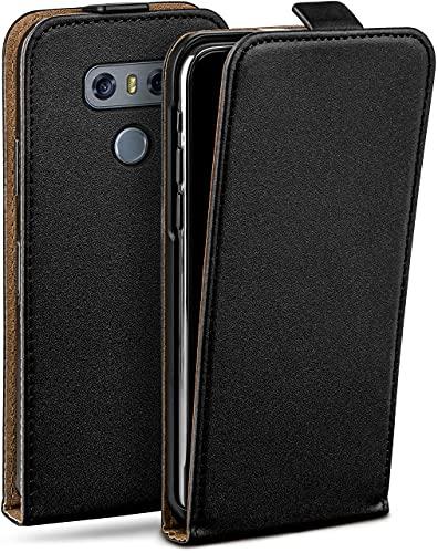 moex Flip Hülle für LG G6 Hülle klappbar, 360 Grad R&um Komplett-Schutz, Klapphülle aus Vegan Leder, Handytasche mit vertikaler Klappe, magnetisch - Schwarz