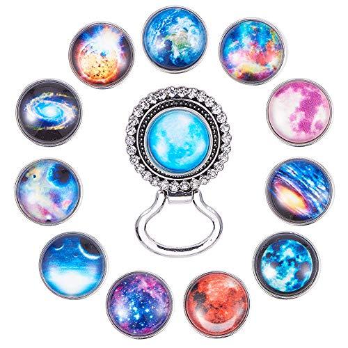SUNNYCLUE 1 Caja de 13 Piezas Intercambiables para Sujetar Gafas, Broche con botón de Clip de Nebulosa Estrellada de Cristal, 18 mm, para Suministros de bisutería