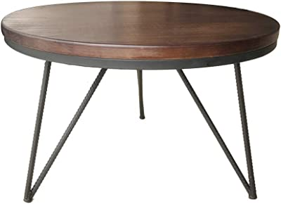Vintage//Black, 80 Dia x 42 cm H ASPECT Happer Round Wooden Coffee Table with Hairpin Legs