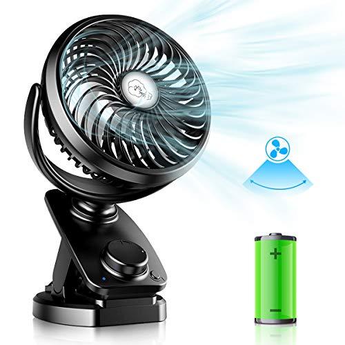 Verbesserte Mini USB Clip Ventilator mit 5000mAh Akku 2 in 1 - Tischventilator Clip Fan, Auto-Oszillierend Leise Stufenloser Geschwindigkeit USB Wiederaufladbare Tragbare Lüfter für Büro Camping