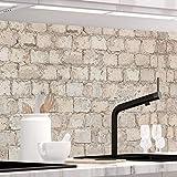 StickerProfis Küchenrückwand selbstklebend - ALTE Mauer - 1.5mm, Versteift, alle Untergründe, Hart PET Material, Premium 60 x 400cm