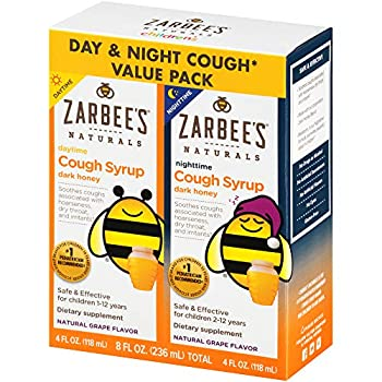 Zarbee s Naturals Children s Cough Syrup* with Dark Honey Daytime & Nighttime Grape 4 Ounces  Pack of 2