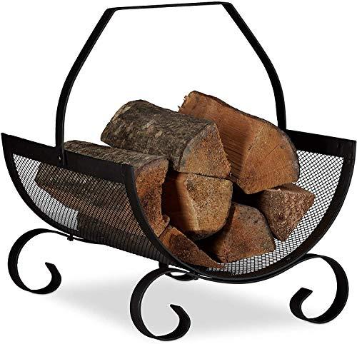 Leñero metalico cesta para leña vintage chimenea para interior