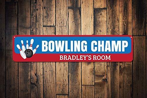 qidushop Bowling-Champ-Schild, personalisierbar, für Kinder, Bowling-Ball und Anstecknadeln, für Sportliebhaber, Dekoration, Metallschild für Zuhause, Wanddekoration, Postschild für Damen und Herren