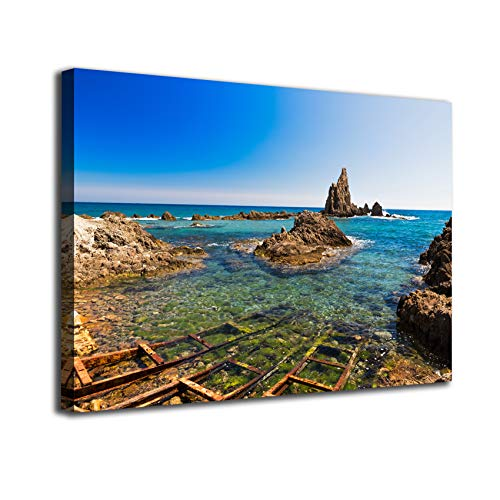Cuadro lienzo canvas Arrecife de las Sirenas Cabo de Gata Almeria Andalucia Mediterraneo España – Varias medidas - Lienzo de tela bastidor de madera de 3 cm - Impresion alta resolucion (50, 33)