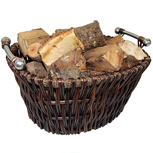 Easipet Wicker Log Storage Basket with Chrome Handles