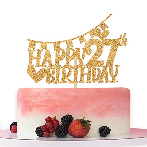 Gold Glitter Happy 27th Birthday Cake Topper,Hello 27,Cheer to 27 Years Old, 27th Anniversary/Birthday Party Decoration Supplies