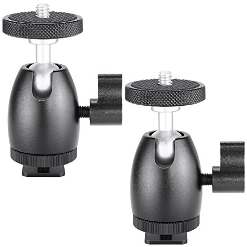 Neewer 2 Stück 1/4 Zoll Schraube Stativ Mini-Kugelkopf Blitzschuhadapter Kamera für HTC Vive VR, Basisstation, LED-Ringlicht, Kamera-Camcorder