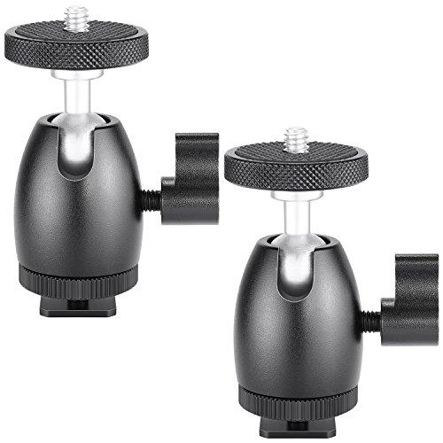 Neewer 2 piezas de Mini Zapata bola cabeza adaptador para soporte de cámara con 1/4 pulgada tornillo de trípode para HTC Vive VR, Estación Base, anillo de LED luz, cámara