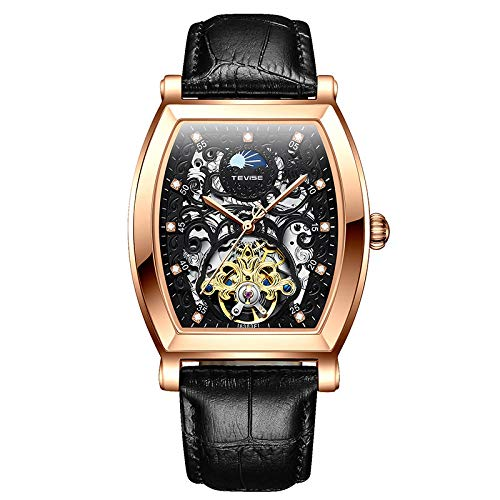 STM32 by ST Watch Men's Business Casual Men's Watch Hollow Belt Automatic Mechanical watch-8383F-rose Black Leather