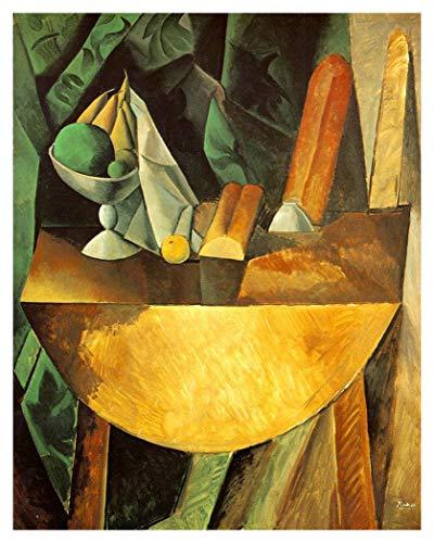 JH Lacrocon Brot Und Obstschale An Einem Tisch 1909 von Pablo Picasso - 95X120 cm Abstrakt Leinwand Gemälde Handgemalt Reproduktionen Gerollte Wandkunst für Wohnzimmer
