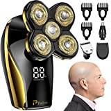 Head Shavers for Bald Men, Paitree Electric Shavers for Men with LED Display Faster-Charging 5D Floating Waterproof Electric Razors with Hair Clippers & Nose Hair Trimmer-Gold