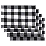 OUNENO 4 Pcs White Black Buffalo Check Plaid Placemats Reversible Cotton Burlap Resistant Table Checkered Mats for Christmas Holiday Table Home Party Decoration Washable