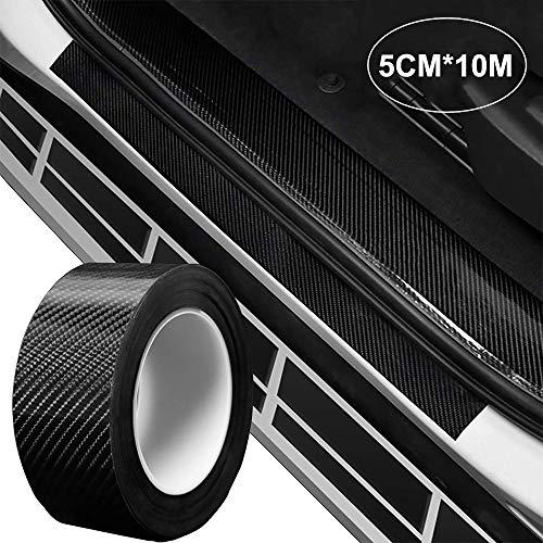 STYLINGCAR Auto Einstiegsleisten Kohlefaser Aufkleber, Universal Waterproof Autoaufkleber Stoßstange Spoiler Kantenschutz Sticker (5CMx10M)