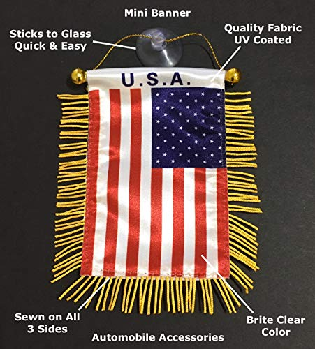 PRK 14 American USA Flag for Cars Accessories Decals Sticker Hanging Mini Banners car Charms Homes Windows Design Style America Decoration Rearview Mirror Sticks to Glass Quality Made Mini Banners