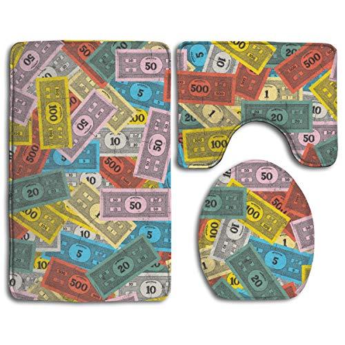 "CCBUTBA Bathroom Rug Mats Set 3 Piece Vintage Monopoly Money Extra Soft Bath Rugs (20""x32"") Contour Mat (20""x16"") and Lid Cover (18""x14"")"