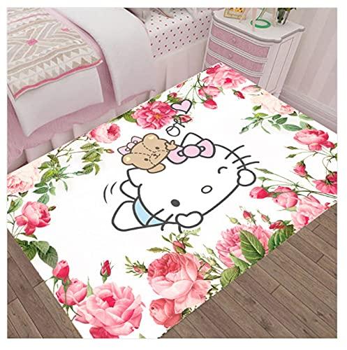 WPCheng Alfombra Hermoso Gato Hello Kitty Alfombra Suave Antideslizante para Decoración del Hogar Impresa En 3D V-942H 140X200Cm
