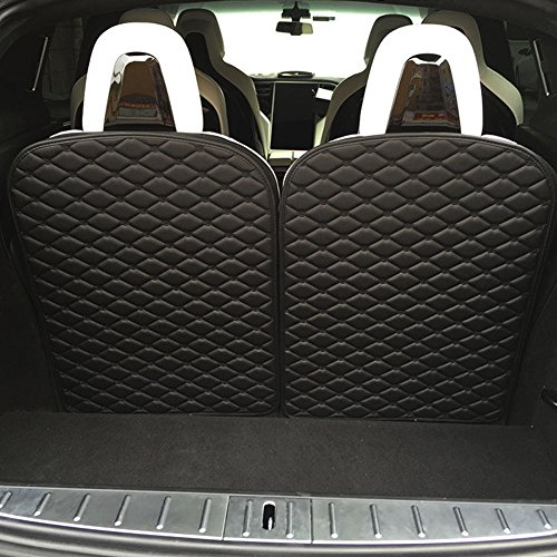 Topfit Model X Trunk Mat Car 3rd Row Seat Back Protector Mat For Tesla Model X 6 seat and 7 seat (2 Pieces, Black) Delaware