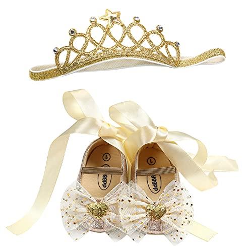 YWLINK Bebé Niña Zapato de Princesa con Cinta Mágica para 6-18 Meses Niños Primeros Pasos Zapatos de Cuero con Lazo Casual Moda Antideslizante Flor Suave Suela Corona Patrón de Punto Corazón