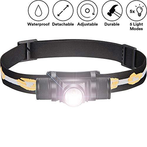 ALFLASH Wiederaufladbare CREE LED Stirnlampe Wasserdicht Super Bright USB Kopflampe Leichte Stirnlampe 5 Modi Scheinwerfer für Radfahren Laufen Camping Wandern Angeln (Singer)