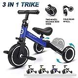 XJD 3 in 1 Kids Tricycles for 1-3 Years Old Kids Trike 3 Wheel Bike Boys Girls 3 Wheels Toddler Tricycles Toddler Bike Trike Upgrade 2.0 (Blue)