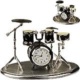 alles-meine.de GmbH kleine - Tischuhr / Miniatur - Uhr - Schlagzeug - Drums / Drum Set - aus Metall - 12 cm - batteriebetrieben - Analog - Batterie - schwarz - Silber - grau - Za..