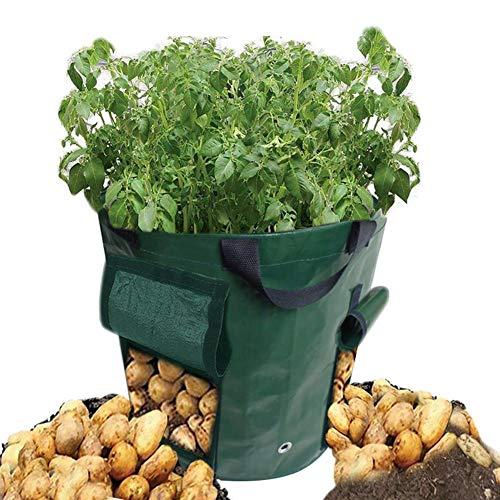 Sacco per piantare Patate da 15 galloni Fioriera da Giardino con Doppia Apertura Foglie Cadute Borsa per vasetti di Tessuto aerazione Potato Sacchi durevoli Resistenti