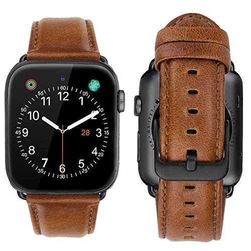 iBazal 38mm 40mm Lederarmband Kompatibel mit iWatch Series 6 SE 5 4 3 2 1 Armband 40mm 38mm Leder Uhrenarmband Bands Armbänder Uhrarmband Echtes Lederband Watchband Herren Damen Uhr - Braun 38/40