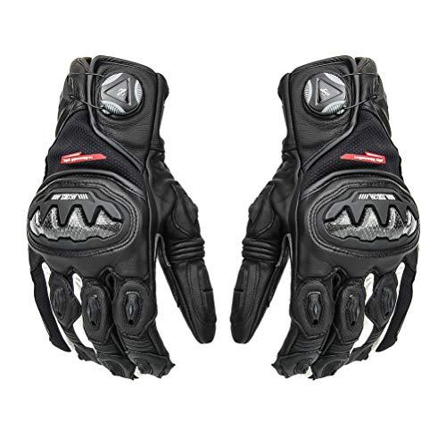 LEXIN Motorradhandschuhe, Touch Screen Handschuhe für Motorräder, Leder Handschuhe Wasserdicht Schwarz zum Motorradfahren oder Outdoorsports XL