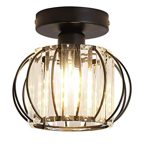 Accesorio semi de la luz del techo de montaje en la lámpara de metal antiguo Mini Cristal Chandelier Iluminación interior para el baño Foyer Iluminación para el...