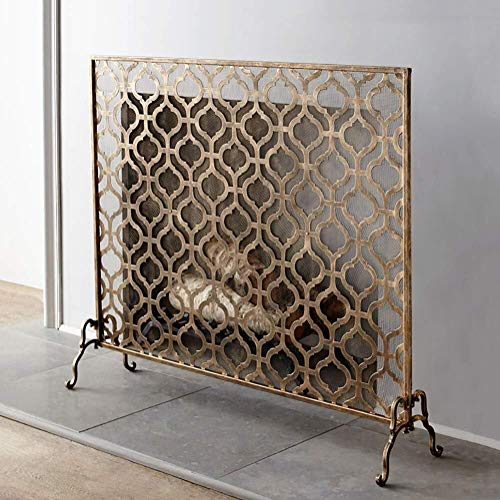 Fantastic Deal! Screen J-Fireplace Gold Bronze Single Panel Fireplace, Ornate Wrought Iron Metal Dec...