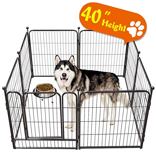 TOOCA Dog Pen Indoor 40 inches Tall, Dog Fence Playpens Exercise Pen for Large Dogs Outdoor, 8 Panels, Ball Poles Design, Metal, Foldable Barrier with Door, Black