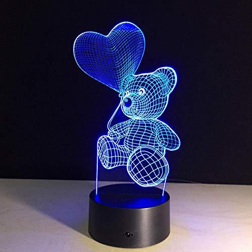 QHZSFF LED Luz de noche, Lámpara de Noche 3D de 16 Colores con Control Remoto, Regalos de Cumpleaños para Niños y Adultos(Globo y oso)