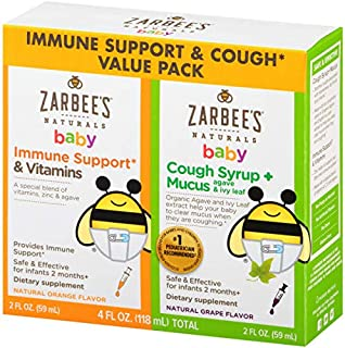 Zarbee's Naturals Baby Immune Support* & Vitamins and Baby Cough Syrup + Mucus, Natural Flavors, 2 Ounce Bottles (Value Twin Pack)